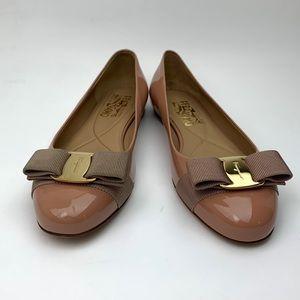 SALVATORE FERRAGAMO Varina Leather Flat sz 6